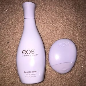 NWOT eos delicate petals body and hand lotion duo